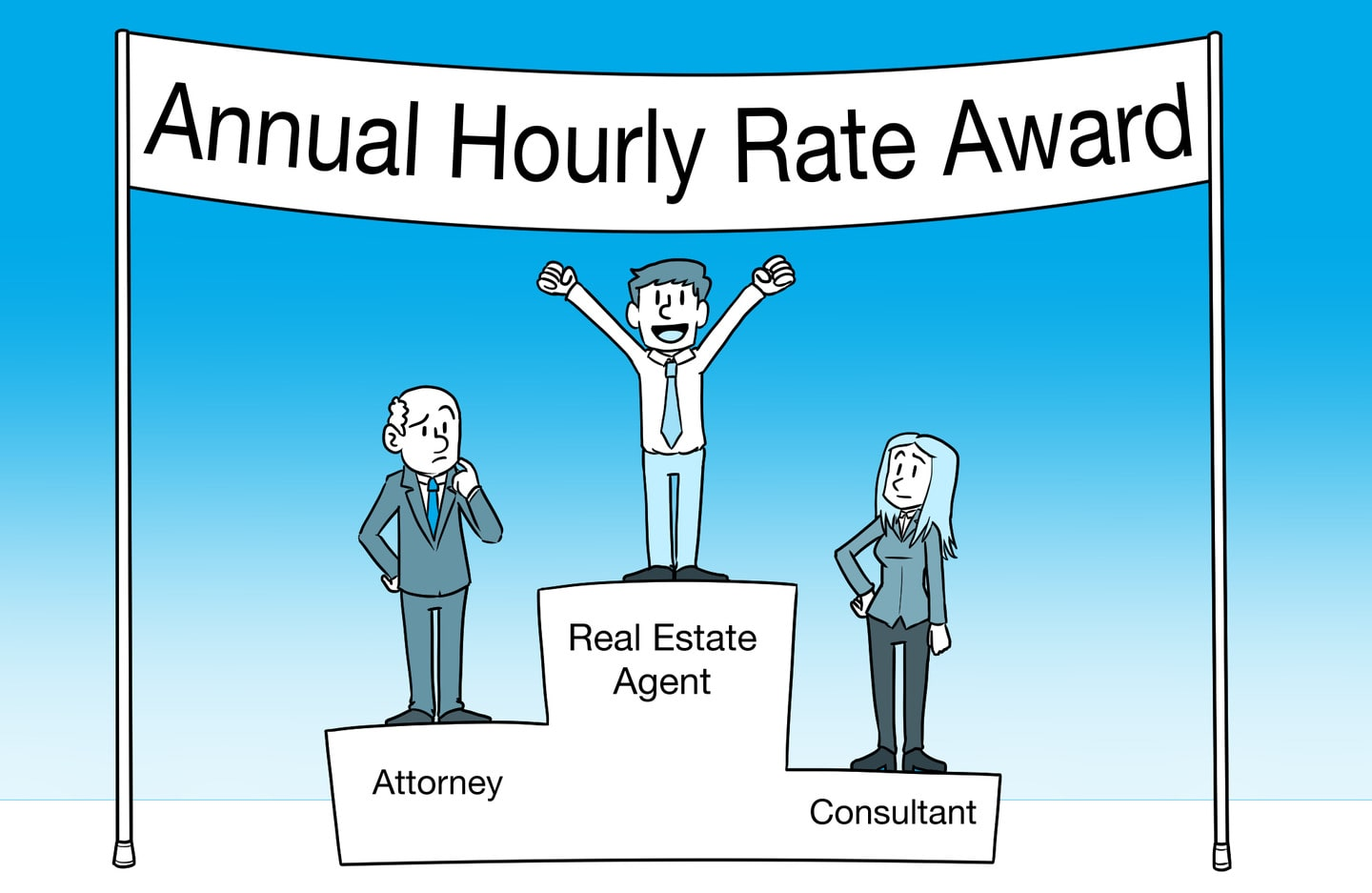 Real estate broker winning the Annual Hourly Rate Award at top of Olympics stand