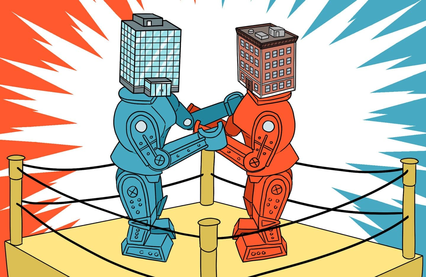 Rock'em sock'em robots toys fighting but with condo and co-op buildings for heads