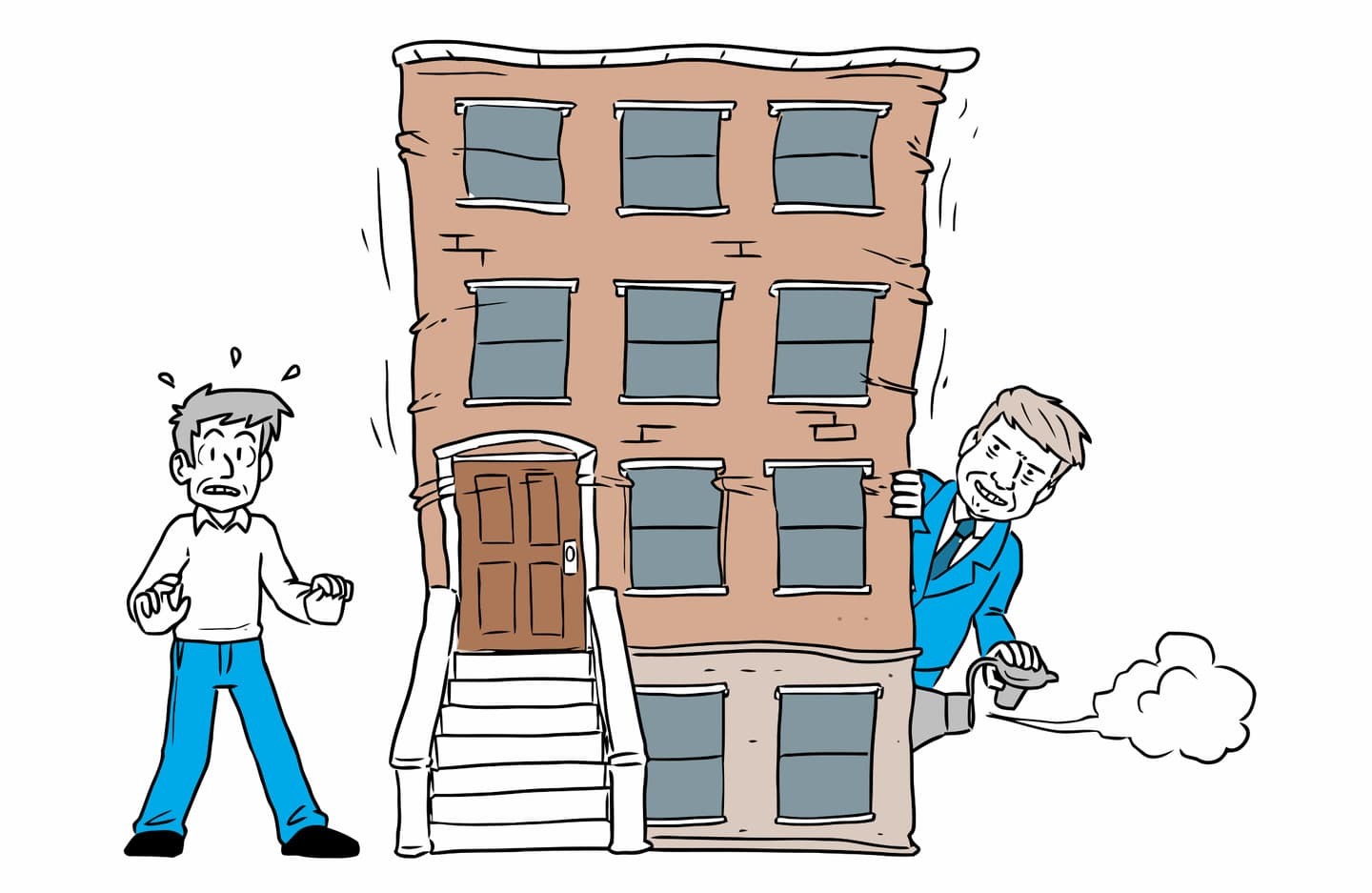 Cartoon Donald Trump letting the air out of a building to signify tax reform will weaken the NYC real estate market