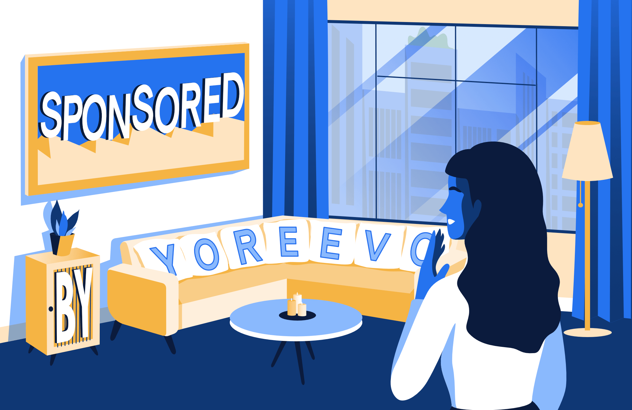 Buyer looking at a sponsor unit apartment with Sponsored By Yoreevo scattered around the room